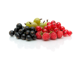 Ripe berries of red and black currant and gooseberries on a white background