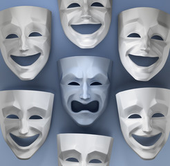 Tragedy Amongst The Fun. Comedian and tragedy theater masks on reflective glossy background. 3D rendered graphics.