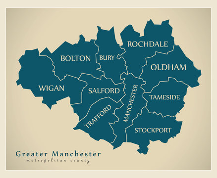 Modern Map - Greater Manchester metropolitan county UK