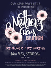 vector hand drawn mothers day event poster with blooming anemone flowers hand lettering text - mother's day and luminosity flares