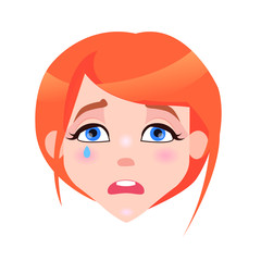 Woman Crying Face with Pink Cheeks and Tear