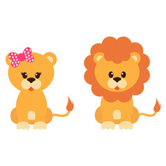 cartoon lioness and lion