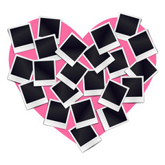 Composition of many blank realistic vintage photo frames on pink heart background. Mockups for romantic design. Vector illustration.