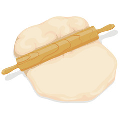 Vector Illustration of Rolling Pin with Dough