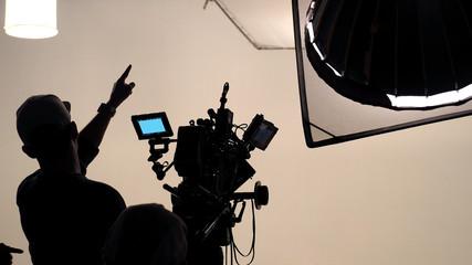 Behind the scene of tv movie video film shooting.
