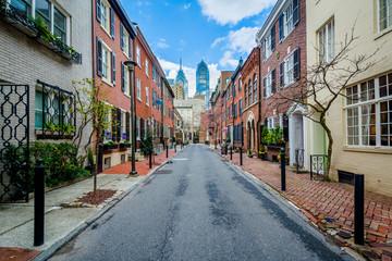 Wall Mural - Street and row houses in Center City, Philadelphia, Pennsylvania.