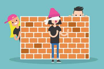 Hide and seek game. Young characters playing near by the brick wall / flat editable vector illustration, clip art