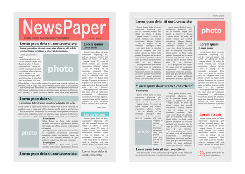 Two Newspaper Pages Vector Illustration on White