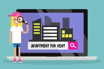 Looking for an apartment for rent. Young girl looking through a magnifying glass. Flat editable vector illustration, clip art