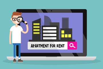 Looking for an apartment for rent. Young nerd looking through a magnifying glass. Flat editable vector illustration, clip art