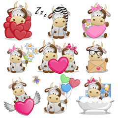 Set of Cute Cartoon Cow