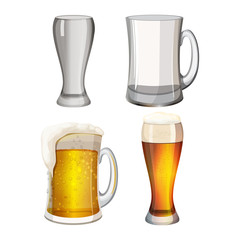 Collection of empty beer mugs and with light alcohol beverage isolated