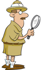 Cartoon illustration of an explorer looking through a magnifying glass.