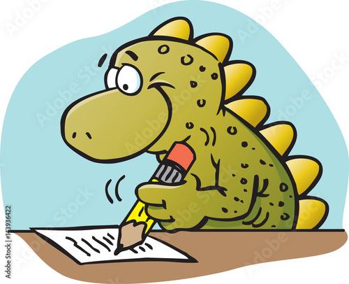 Cartoon illustration of a dinosaur writing.