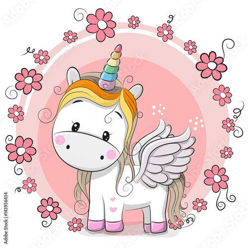 Cute cartoon unicorn stock image and royalty free vector - Licorne mignonne ...