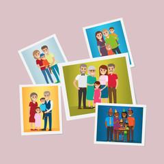 Happy Family Pinned Portraits Flat Vectors Set