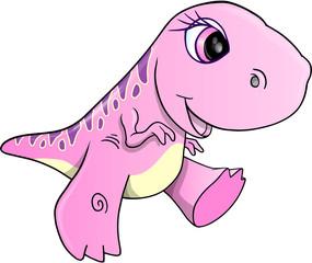 Girl Dinosaur Vector Illustration Art
