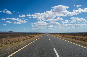 Prairie Landscape with Mountains and Highway, Western Cape, South Africa