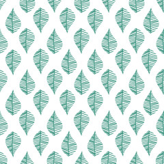 Abstract leaves seamless vector pattern on white background. Nature leaf background.