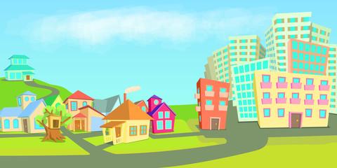 City houses horizontal banner types, cartoon style