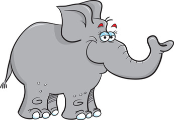 Cartoon illustration of a smiling elephant.