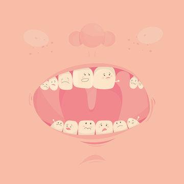 Modern vector illustration of missing teeth. Dental healthcare. Cute vector.