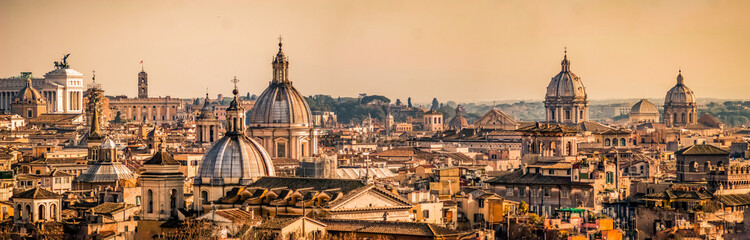 Skyline of Rome, Italy. Rome architecture and landmark, cityscape. Rome postcard