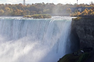 Beautiful photo with amazing Niagara waterfall, the mist, and viewpoints