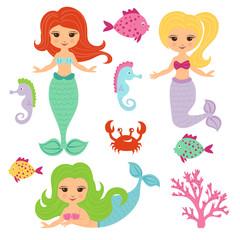 Foto op Canvas Zeemeermin Cute little mermaid girls set. Vector cartoon illustration.