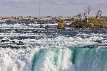 Beautiful isolated picture of amazing powerful Niagara waterfall