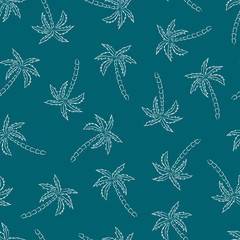 Palm trees silhouette blue print. Vector seamless pattern with tropical plants.