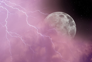"lightning in night sky with moon in the clouds ""Elements of this image furnished by NASA"