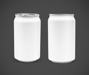blank packaging beverage tin can isolated on gray background