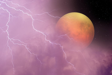 "lightning in night sky with lunar eclipse in the clouds ""Elements of this image furnished by NASA"