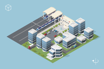 Set of Isolated High Quality Isometric City Elements on Blue Background