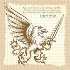 Vintag background with hand drawn heraldy gryphon with sword.Vector illustration