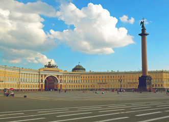 Alexander Column and Empire-style Building of the General Staff on Palace Square in St. Petersburg. Russia - July 2016