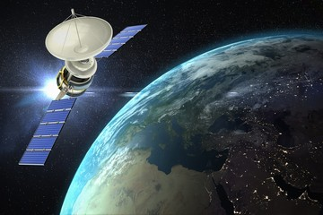 Composite image of vector image of3d solar satellite