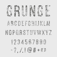Hand drawn grunge letters. Vector alphabet, punctuation marks, numerals on white background