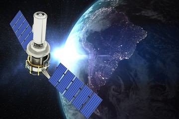 Composite image of vector image of 3d modern solar satellite