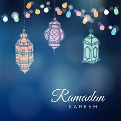 Ramadan hand drawn Arabic lanterns with a string light bulbs.