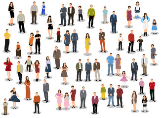 collection of people flat style, isometric people women, man, children