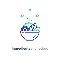 Recipe and ingredients, salad bowl line icon, diet food