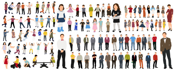 Vector illustration of a collection of people flat style, isometric people women, man, children