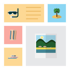 Flat Season Set Of Boat, Coconut, Scuba Diving And Other Vector Objects. Also Includes Palm, Towel, Yacht Elements.