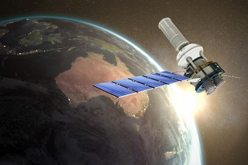 Composite image of 3d image of modern solar satellite