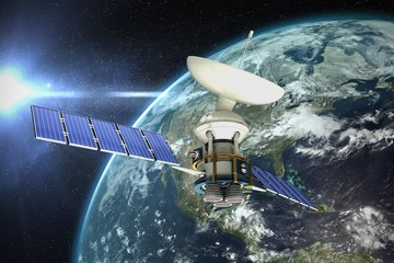 Composite image of 3d illustration of solar satellite