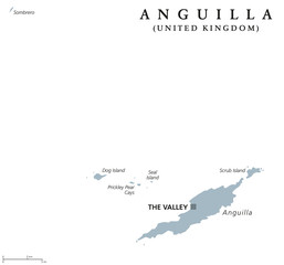 Anguilla political map with capital The Valley. British overseas territory in the Caribbean, part of the Leeward Islands in the Lesser Antilles. Gray illustration over white. English labeling. Vector.