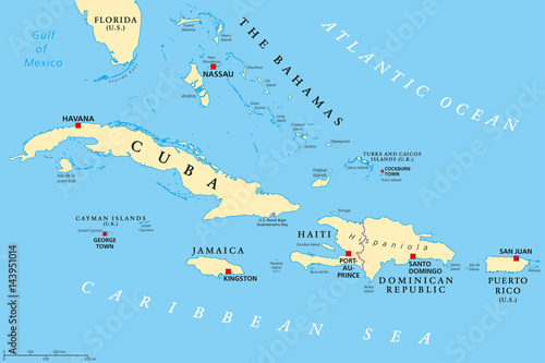 Map Of Florida And Cuba.Greater Antilles Political Map Caribbean Islands Cuba Jamaica