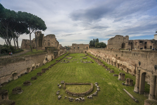 View of Palantine Hill in Rome
